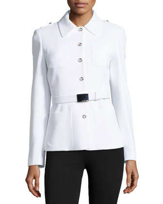 Belted Shirt Jacket, White
