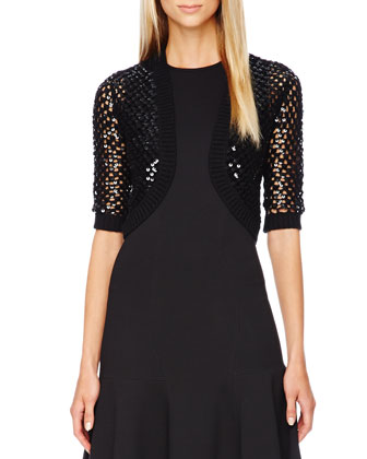 Sequined Open-Knit Shrug, Black
