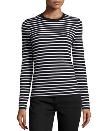 Striped Cashmere Top, Black/White