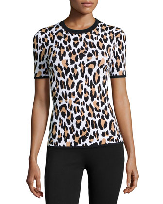 Leopard-Print Short-Sleeve Knit Top, Suntan