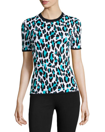 Leopard-Print Short-Sleeve Knit Top, Aqua