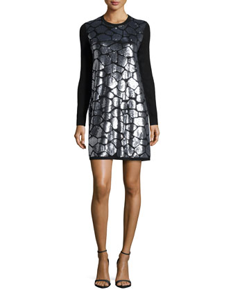 Croc Paillettes Shift Dress