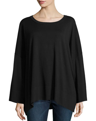 Oversized Cotton Long-Sleeve Top, Black