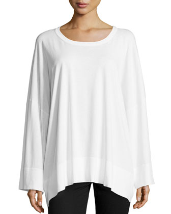 Oversized Cotton Long-Sleeve Top, White