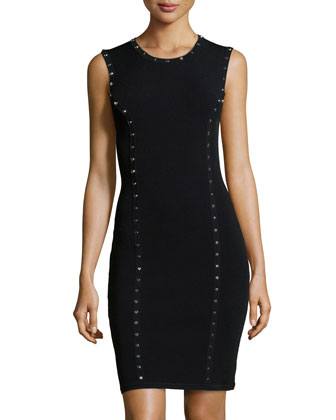 Studded Sleeveless Dress, Black