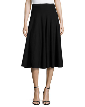 Merino Midi Flare Skirt, Black
