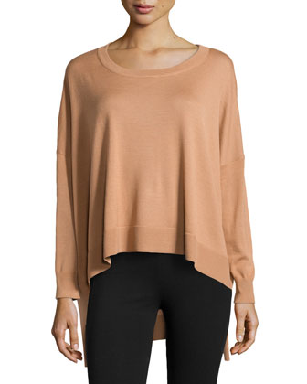 High-Low Knit Sweater, Suntan