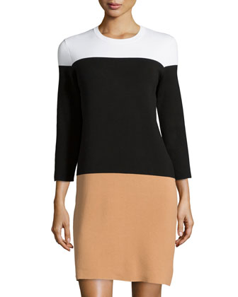 Colorblock Knit Dress, Suntan