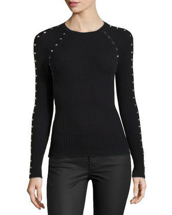 Studded Ribbed Long-Sleeve Top, Black