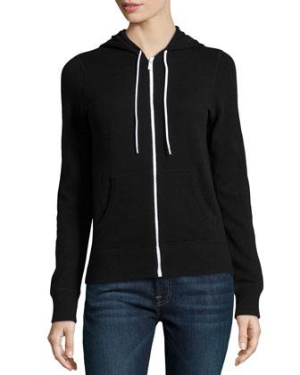Knit Hooded Zip Sweatshirt, Black