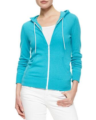 Knit Hooded Zip Sweatshirt, Aqua