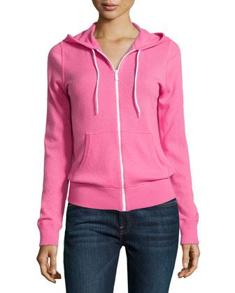 Cashmere Knit Hooded Zip Sweatshirt, Carnation