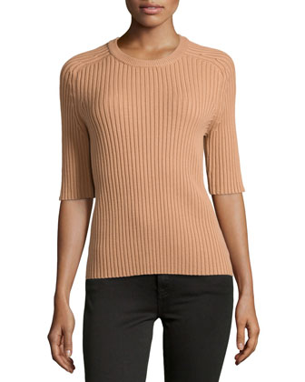 Ribbed Half-Sleeve Top, Suntan