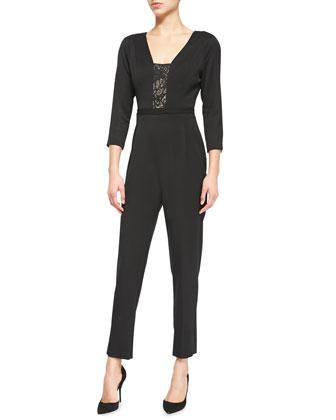 Rockwell Lace-Inset Gabardine Jumpsuit