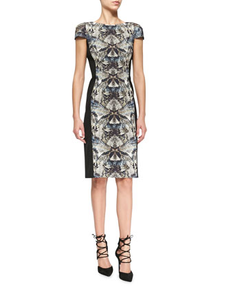 Grayson Reptile-Print Paneled Dress