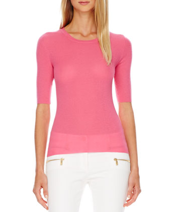 Short-Sleeve Ribbed Cashmere Top, Carnation