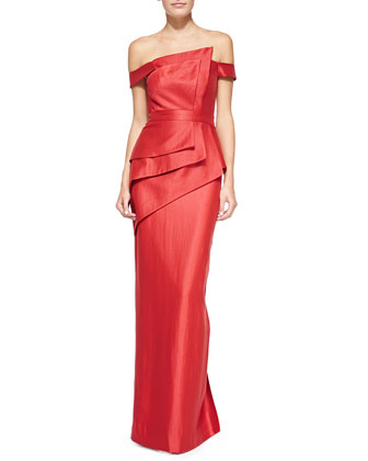 La Reina Folded Off-Shoulder Gown