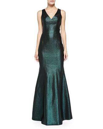Elise Metallic Diamond-Brocade Gown