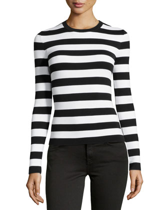 Long-Sleeve Striped Top, Black