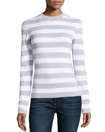 Long-Sleeve Striped Top, Heather Gray