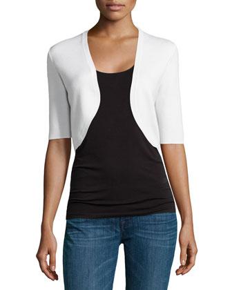 Half-Sleeve Shrug, White