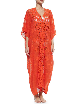 Rachel Long Crochet-Panel Caftan, Blood Orange