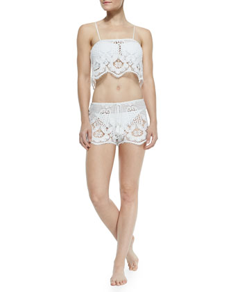 Chandler Lace Crop Top W/ Spaghetti Straps & Minnie Miny Lace Drawstring ...