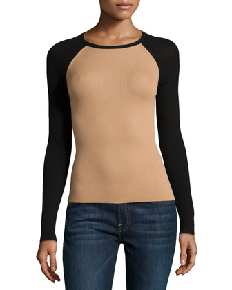 Colorblocked Long-Sleeve Cashmere Top, Suntan/Black