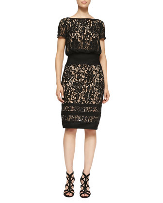 Lace-Overlay Cocktail Dress W/ Banded Waist