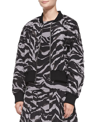 Quilted Animal-Print Zip-Front Jacket