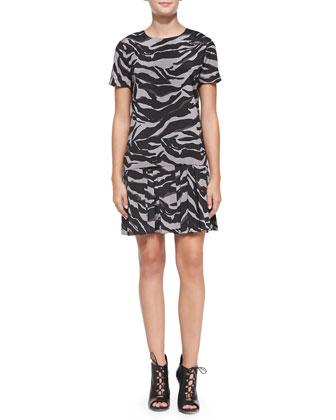 Short-Sleeve Animal-Print Dress w/ Bonded Skirt