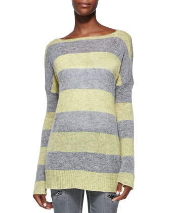 Striped Dropped-Shoulder Pullover Sweater