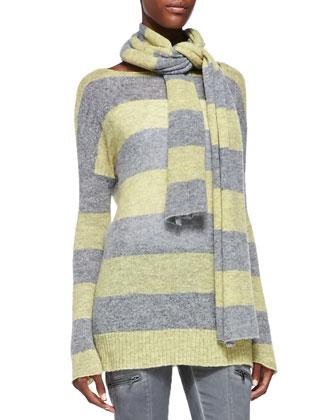 Striped Woven Scarf, Heather