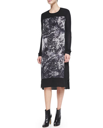 Asymmetric-Zip Leather/Shearling Vest & Long-Sleeve Print-Front Shift Dress