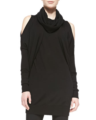 Long-Sleeve Cowl-Neck Tunic w/ Cold Shoulders