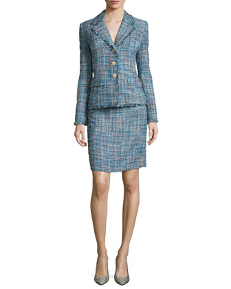 Long-Sleeve Tweed Jacket W/ Matching Skirt