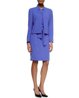 Long-Sleeve Jacket & Sheath Dress, Periwinkle