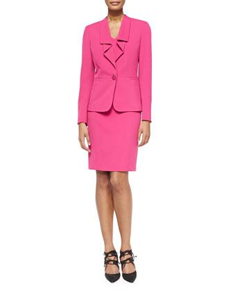 Ruffled One-Button Jacket W/ Dress