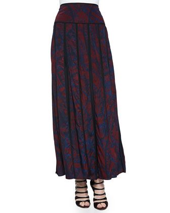 Abstract-Print Maxi Pleated Skirt