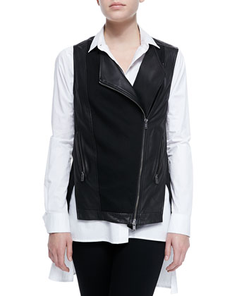 Asymmetric Zip-Front Leather Vest