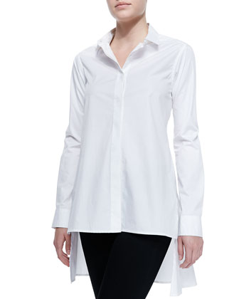 Long-Sleeve Button-Through Skirted-Back Shirt