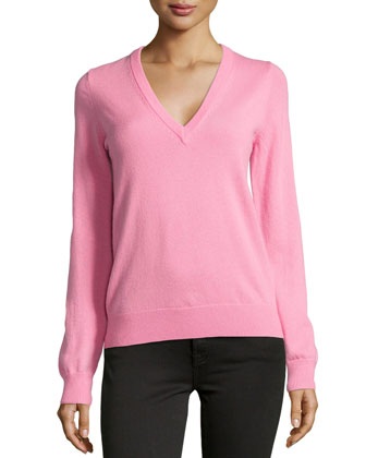 Cashmere Long-Sleeve V-Neck Sweater, Blossom