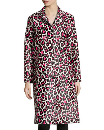 Animal-Print Leather Coat, Carnation