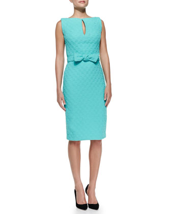 Sleeveless Keyhole Sheath Dress W/ Bow Belt