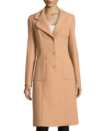 Patch Pocket 3-Button Reefer Coat, Suntan