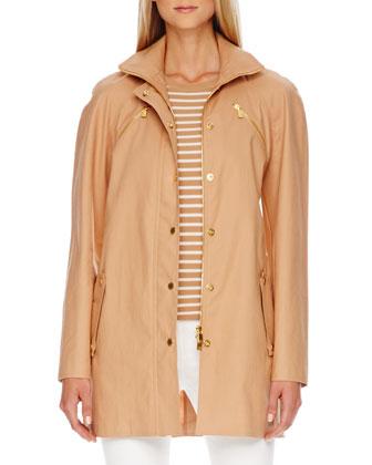 Zip-Front Balmacaan Jacket, Suntan