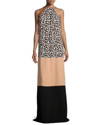 Leopard-Print Halter Colorblock Gown