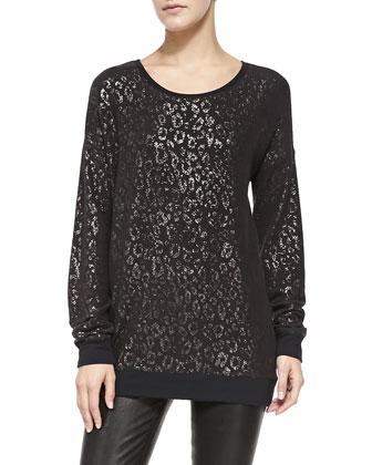 Landri Metallic Leopard Sweatshirt