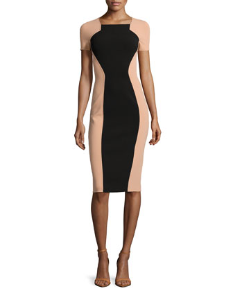 Two-Tone Fitted Crepe Dress, Black