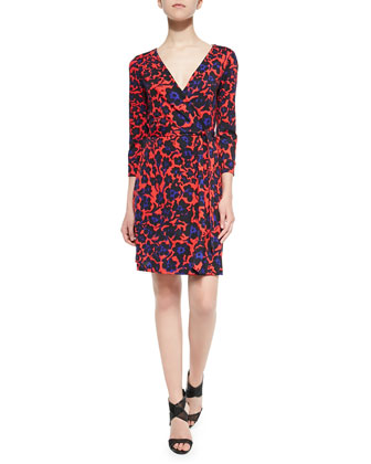 New Julian Two 3/4-Sleeve Printed Wrap Dress